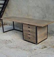 """Стол офисный """"Стоун"""", стол письменный, стол для офиса, стол с натурального дерева на металлическом подстолье"""