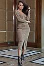 Повседневное платье женское, размеры от 42 до 52, трикотаж, оливковое, фото 4