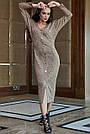 Повседневное платье женское, размеры от 42 до 52, трикотаж, оливковое, фото 5