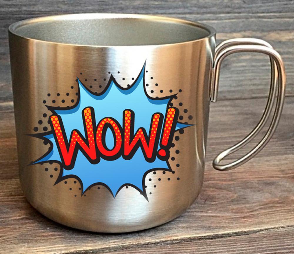 Чашка с Вашим дизайном с нержавеющей стали, серебристая