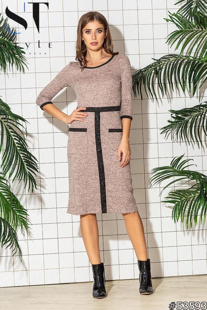 Приталенное женское ангоровое платье С, М, Л, ХЛ