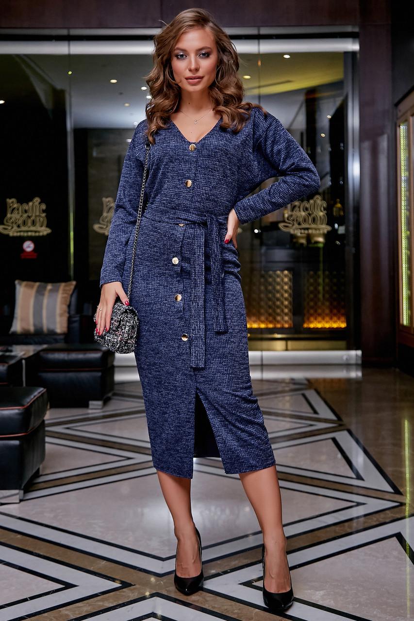 Молодёжное платье женское, размеры от 42 до 52, трикотаж, синее