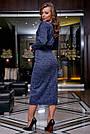Молодёжное платье женское, размеры от 42 до 52, трикотаж, синее, фото 4