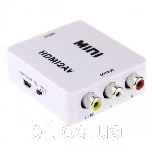 Конвертер аудио видео HDMI на RCA тюльпан HDMI Преобразователь в сигнал AV2 Адаптер HDMI AV2, фото 1