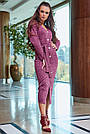 Красивое платье женское миди, размеры от 42 до 52, трикотаж, марсала, фото 4