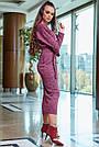 Красивое платье женское миди, размеры от 42 до 52, трикотаж, марсала, фото 6