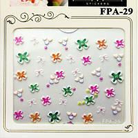 Наклейки для Ногтей Самоклеющиеся 3D FPA-29 Цветочки Белые с Цветными Серединками Маникюр, Слайдер Дизайн