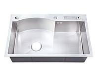 Кухонная мойка из нержавеющей стали размер 75*46 с подставкой для ножей Handmade 3.0/1.2 mm