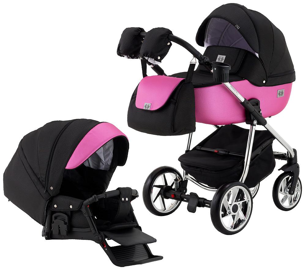 Коляска Adamex Hybryd Plus Polar BR607 черный розовый (разноцветный люрекс)