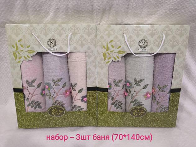 Набор полотенец махровых 3 бани (От 3 наборов, Микс), фото 2