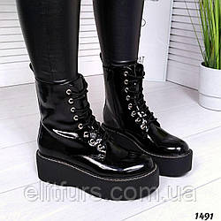 Ботинки демисезонные со шнуровкой, эко-лак