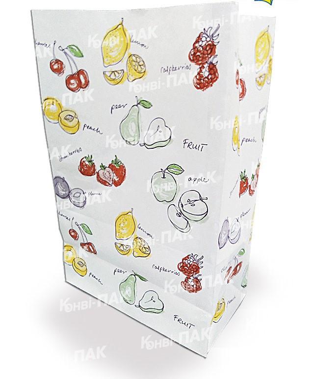 Бумажный пакет 390х260х140мм с печатью Фрукты (Печать как на фото)