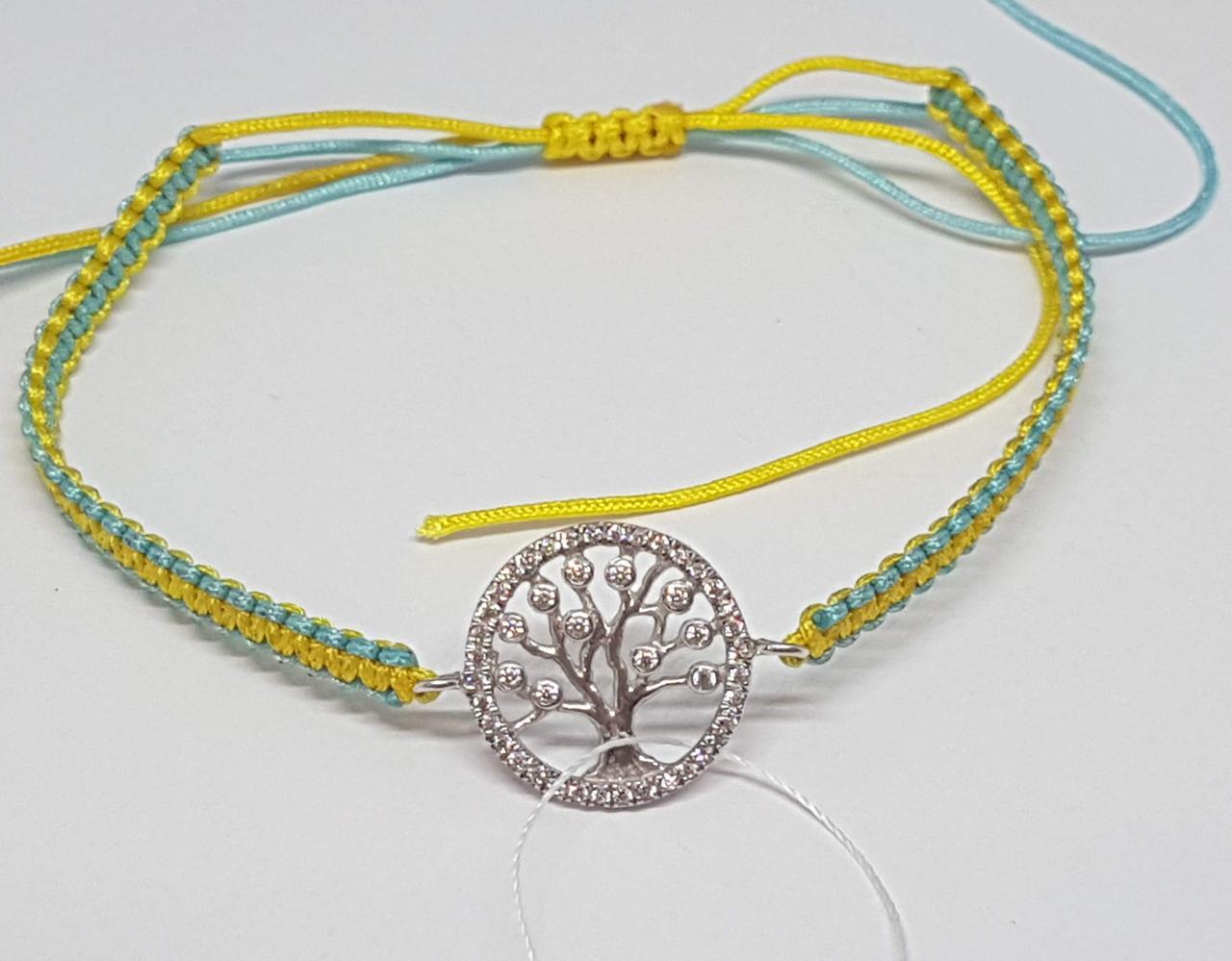 Браслет Дерево життя з текстилю з срібними вставками. Артикул БС142С