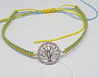 Браслет Дерево життя з текстилю з срібними вставками. Артикул БС142С, фото 1