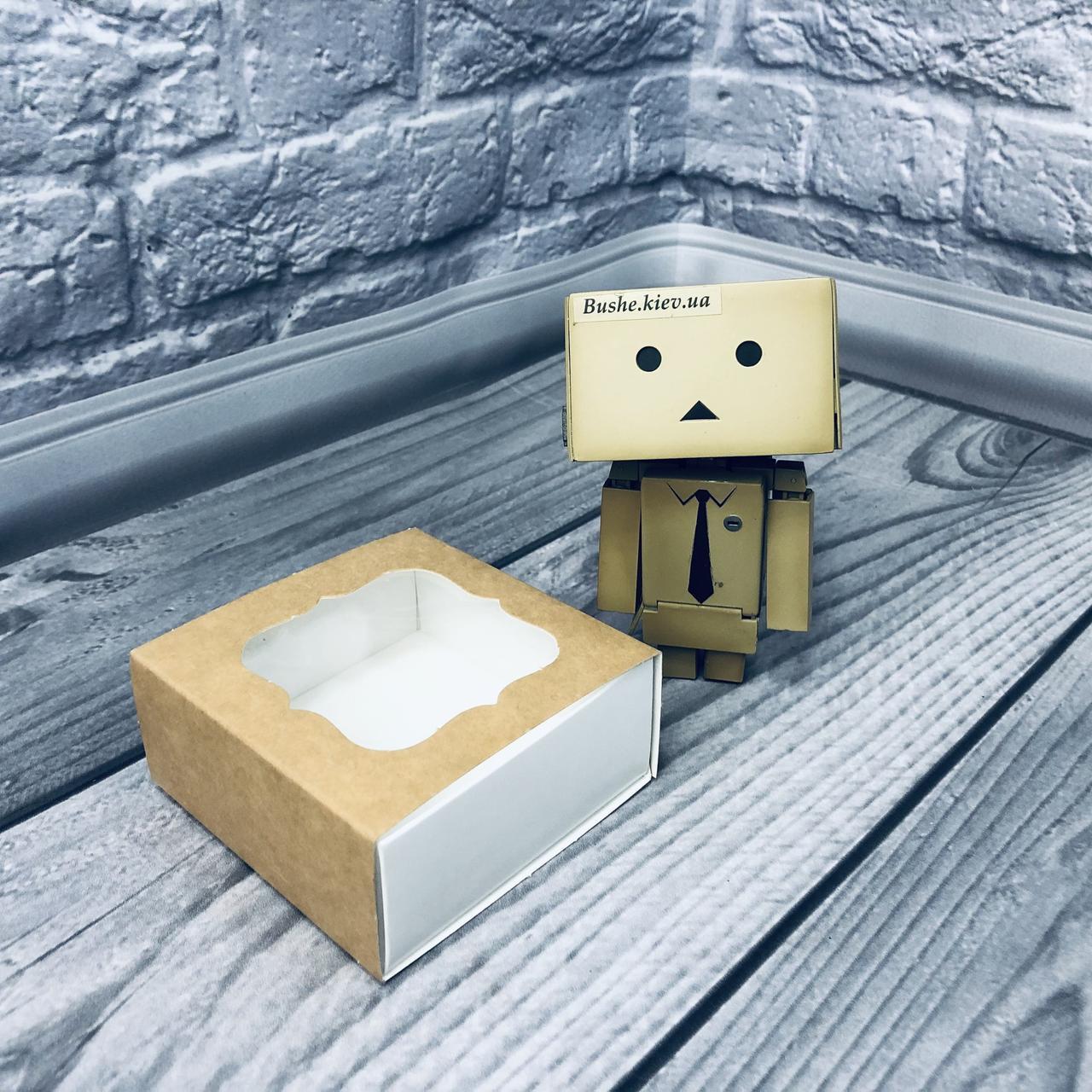 *50 шт* / Коробка для пряников / 80х80х35 мм / Крафт-БЕЛЫЙ / окно-обычн