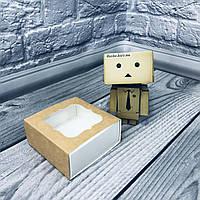 *50 шт* / Коробка для пряников / 80х80х35 мм / Крафт-БЕЛЫЙ / окно-обычн, фото 1