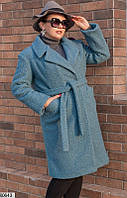 Демисезонное пальто букле, большого размера