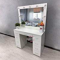 Туалетный столик, стол для макияжа с зеркалом и выдвижными ящиками, зеркало с подсветкой
