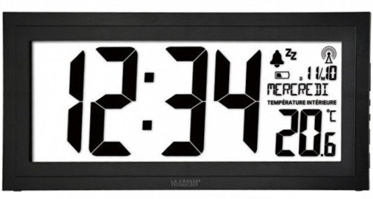 Настенные часы La Crosse WS8010 с датчиком температуры, black