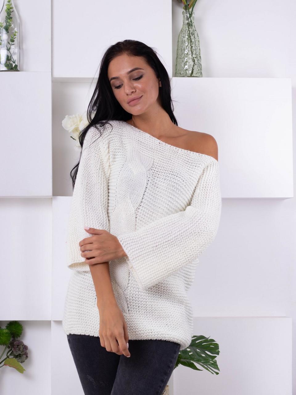 Жіночий в'язаний светр хуліганка, молоко