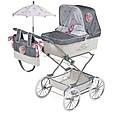 """Кукольная коляска раскладная для девочек DeCuevas """"Reborn"""" 82031, классика, сумка, корзинка, зонт, серая, фото 2"""