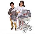 """Кукольная коляска раскладная для девочек DeCuevas """"Reborn"""" 82031, классика, сумка, корзинка, зонт, серая, фото 3"""
