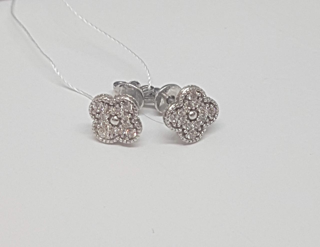 Серебряные серьги-пуссеты с фианитами. Артикул СП1138С