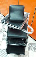 Педикюрная тележка, Подставка для педикюра на колесиках, 3 ящика, с поддоном, подставкой под ногу, цвет черный