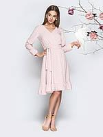 Платье розовое  в горошек из софт с длинным рукавом по колено 44 46 48 50