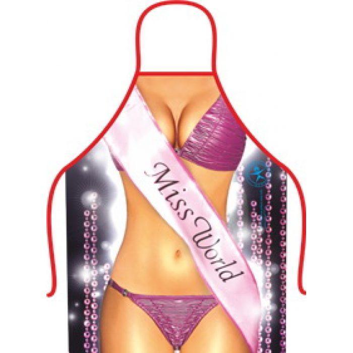 Фартук прикольный Мисс мира, 50х70 см, Плотный габардин, 1879