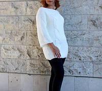 """Красивый женский свитер с рукавом 3/4 """"Хулиганка"""" - синий, джинс, молоко, размер универсальный 46-54"""