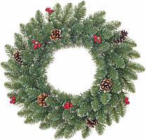 Венок декоративный искусственный Black Box Trees Creston Frosted с декоративными шишками и ягодами зеленый 60 см, 142 шт, 0.37 кг