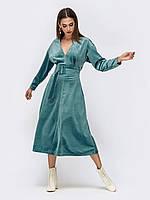 Вечернее платье бирюзовое из бархата 44 46 48