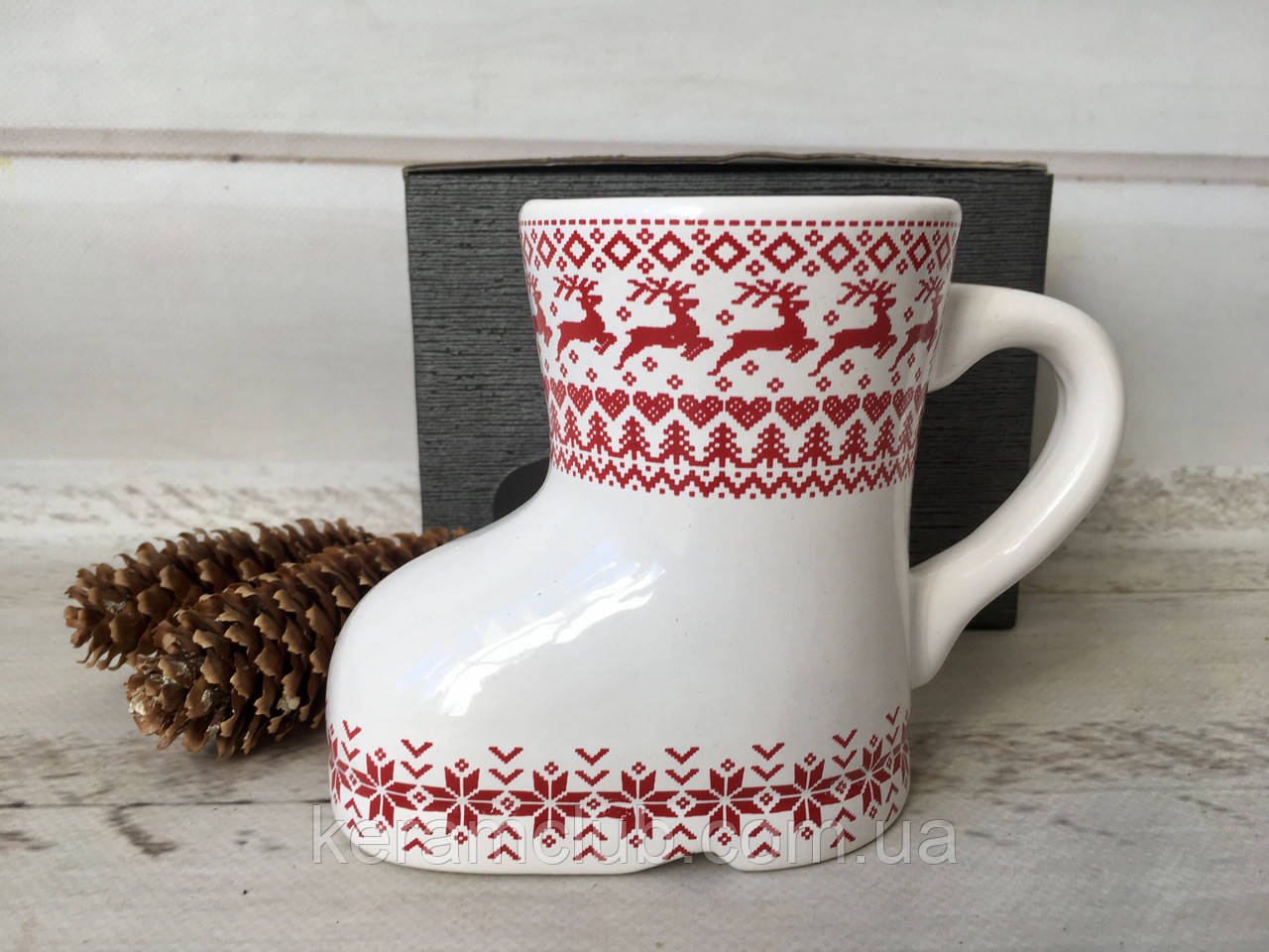 Різдвяна чашка з оленями у вигляді чобітка