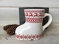 Різдвяна чашка з оленями у вигляді чобітка, фото 1