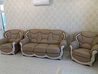 Шкіряні дивани з дерев'яними вставками Salvador