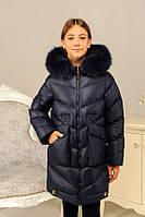 Теплая зимняя куртка с натуральным мехом на девочку «Катрина» ТМ MANIFIK, джинс