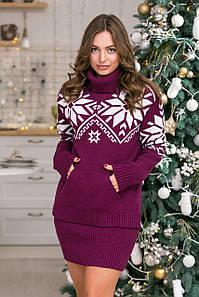Теплый вязаный свитер Снежка (темная фуксия, белый)