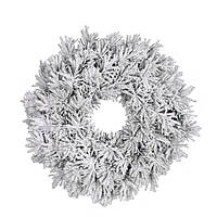 Венок декоративный искусственный Black Box Trees Dinsmore Frosted с эффектом покрытия снегом зеленый 60 см, 108 шт