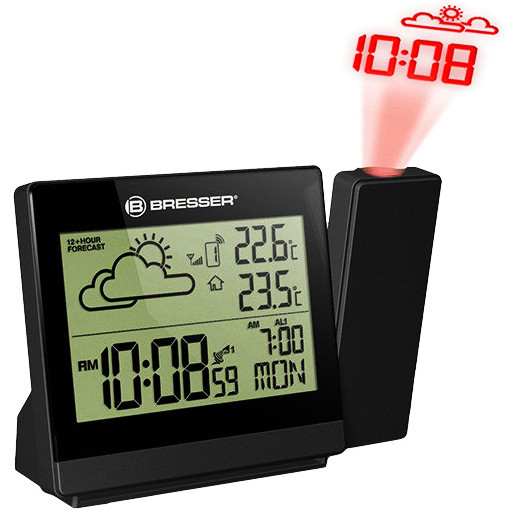 Метеостанция с проекционными часами  Bresser TemeoTrend P black с выносным датчиком