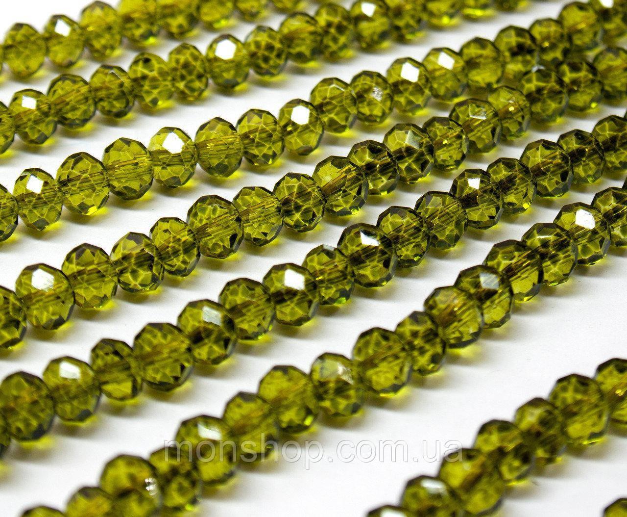 Кришталеві намистини (Рондель) 6х4мм, колір - оливковий прозорий глянець