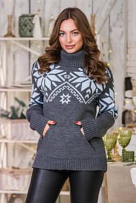 Теплый вязаный свитер Снежка (темно-серый, голубой)