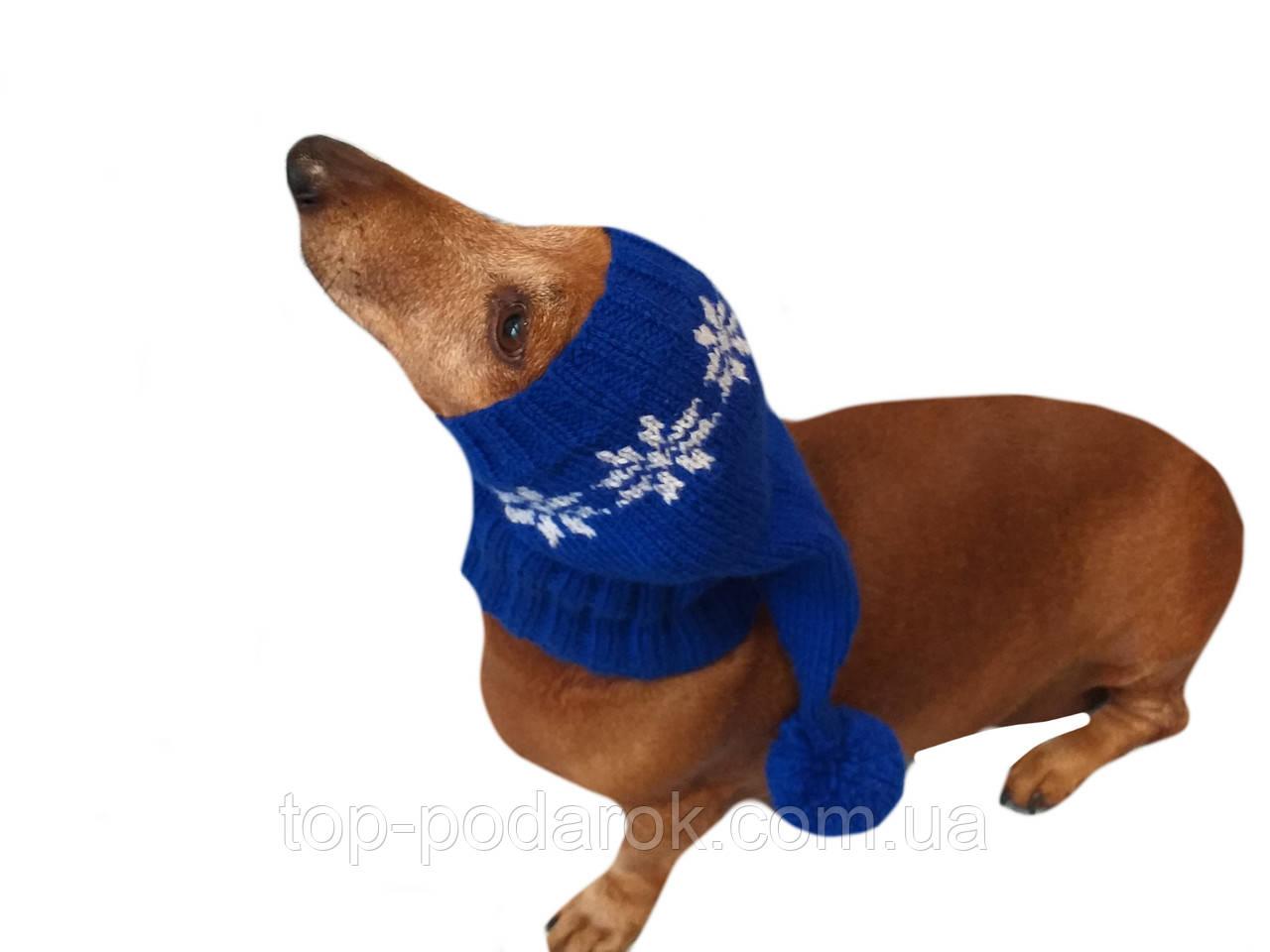 Шапка Санты для собаки вязанная универсальная