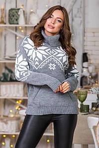 Теплый вязаный свитер Снежка (серый,белый)