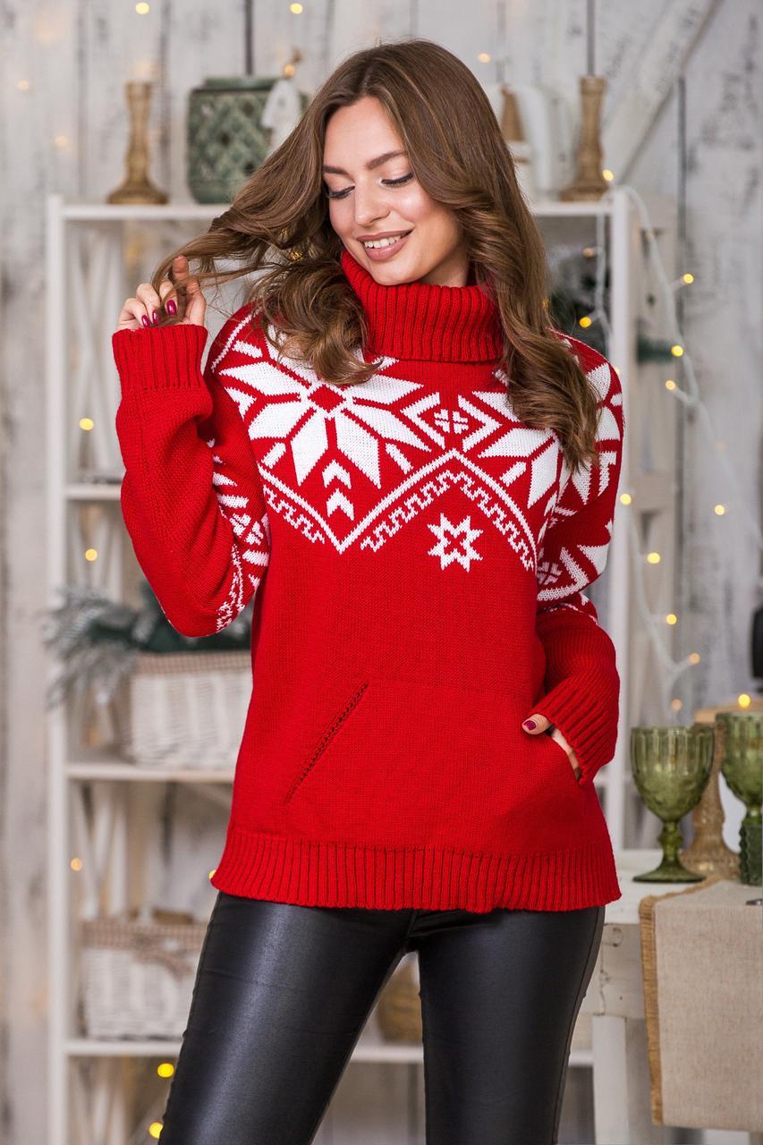 Теплый вязаный свитер Снежка (красный, белый)
