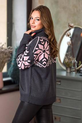 Теплый вязаный свитер Снежка (графит, розовый), фото 2