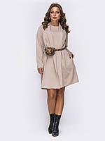 Теплое платье +кардиган пудра 54 56 58 60