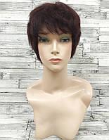 Парик женский цвет красное дерево натуральные волосы, короткая стрижка