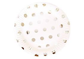 Тарілки одноразові з фольгою Крапки в наборі 10 шт 18,5 см