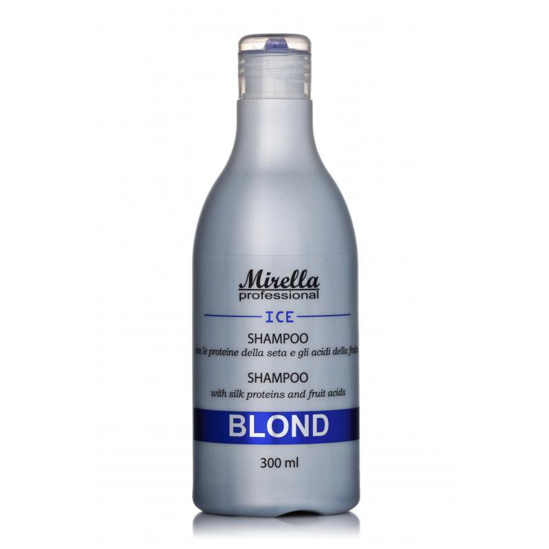 Шампунь Blond Ice с протеинами шелка для светлых, седых и поврежденных волос Mirella Professional,300мл
